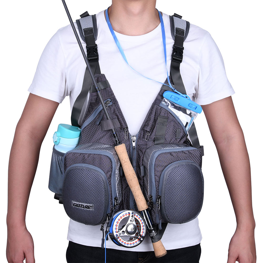 Goture New Outdoor Fly Fishing Vest Multifunctional Adjustable Size Life Jacket Vest For Fishing Hunting Men