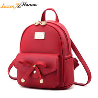 Youth Cute Mini Shoulder Bag Red Bow School Bags For Teenage Girls PU Leather Back Pack