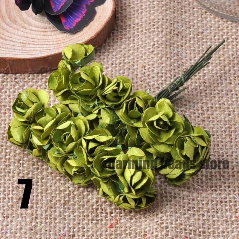 24 шт. 15 мм мини искусственный Бумага розы букет Свадебный декор Скрапбукинг DIY cp0022x - Цвет: 7