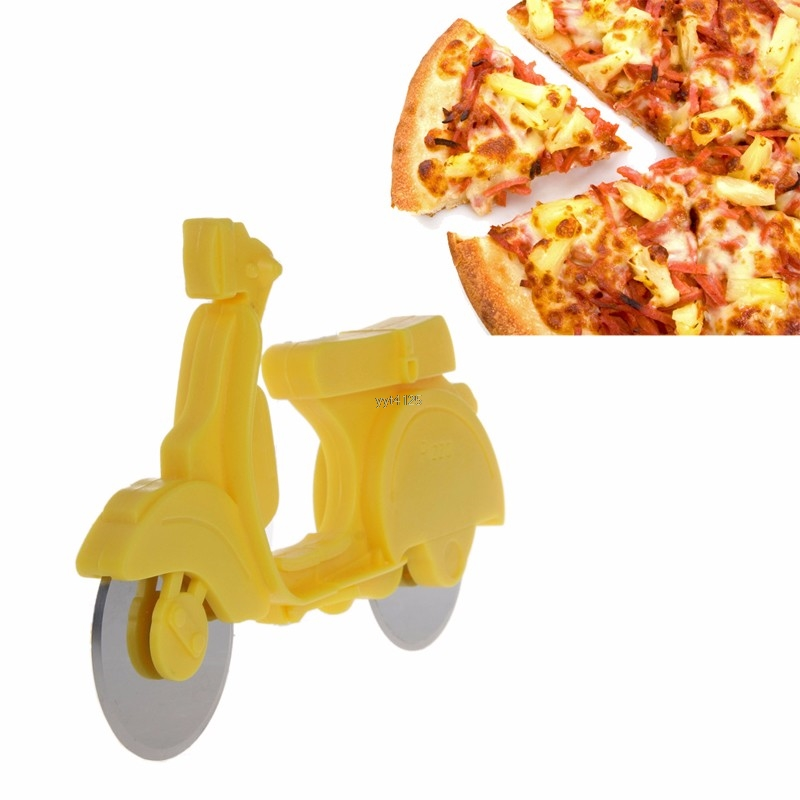 Motorcycle Chopper Pizza Cutter Stainless Steel Pizza Cutter Round Wheel Roller Dual Wheels Slicer Non-stick Kitchen Gadget Mar