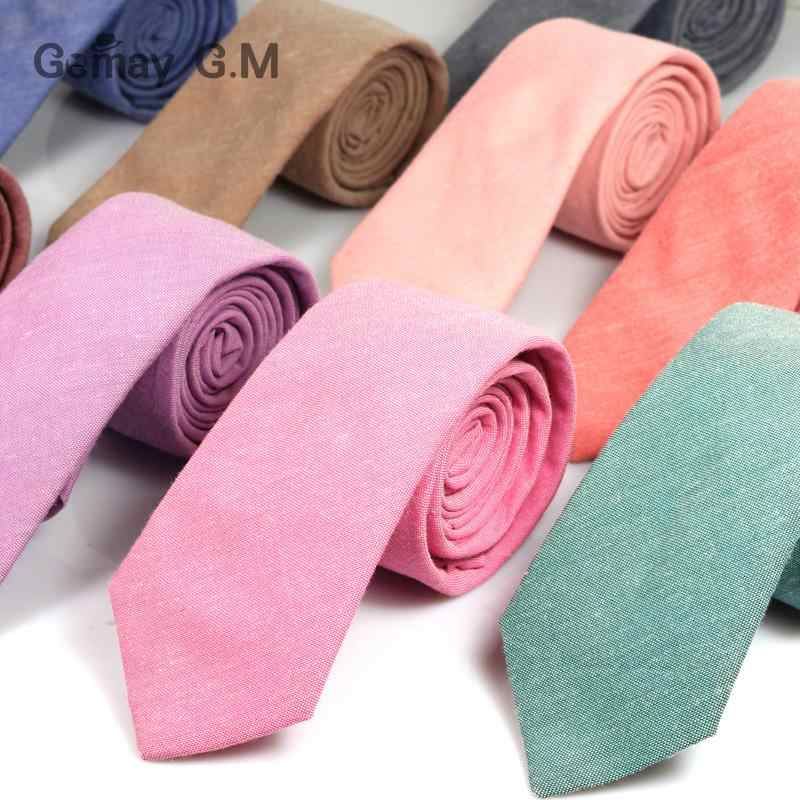 Fashion Solid Mens Skinny Ties Casual 6cm Width Narrow Cotton Neckties for Wedding Party High Quality Groom Slim Cravats Tie
