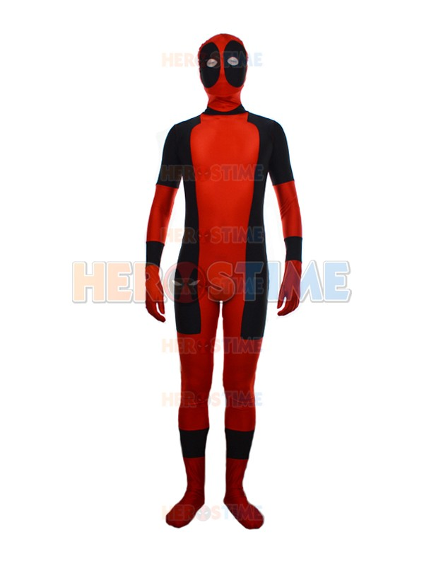 Lycra Spandex New Red Round Eyes Classic Deadpool Superhero Costume Zentai Deadpool Cosplay Full Bodysuit Free Shipping