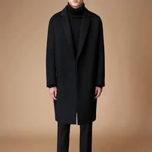 S-6XL! Мужское осенне-зимнее шерстяное пальто, Южнокорейская версия, однотонный, длинное Свободное пальто, мужской тренд