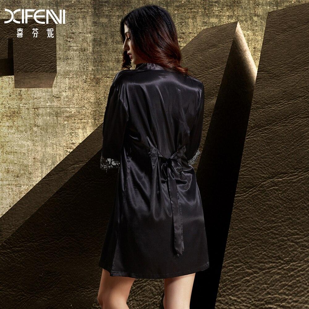 Xifenni Robe Sets Female Softness Satin Silk Sleepwear Women Pijama Sexy Black Lace Two-Piece V-Neck Bathrobes Set 2018 NEW 6628