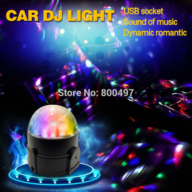 Auto Disco DJ Music LED Strobe Light Three Color Rotating Sound Music  Rhythm Dynamic Romantic Laser