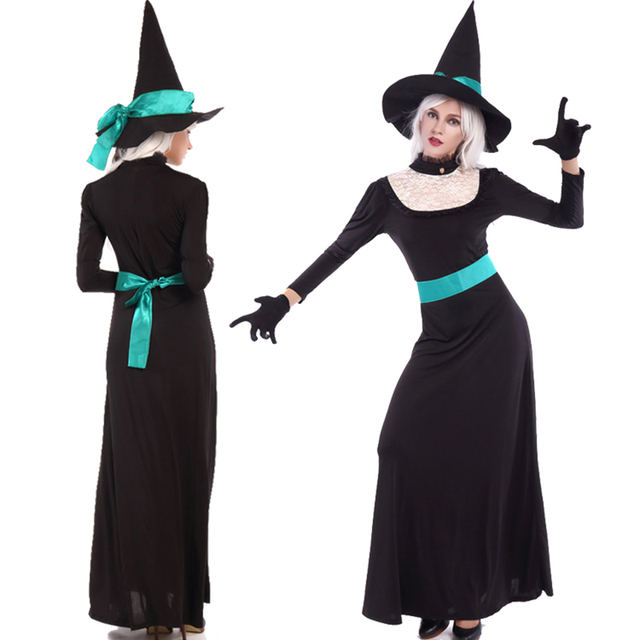 a97e3c6b2ad Adult Women Halloween Black Witch Costume Long Sleeves Black Lace Dress  Pointed Hat Suit Fashionable Fancy Outfit Plus Size M-XL