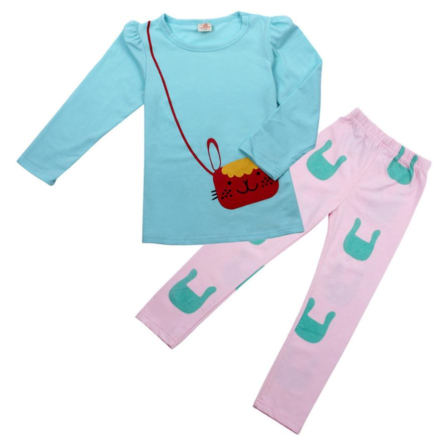 ARLONEET 2017 Kids Girl Long Sleeve Cartoon Cat Shirt Pant Suit