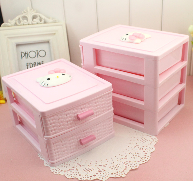 Small items tabletop cosmetic jewellery box cartoon adorable 234 tier adorn drawer