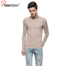 Phanteen Thicken Warm Cashmere Man Sweaters Turtleneck Slim Fit Pullover Double Collar Wool Casual Knitwear Fashion Men Clothing
