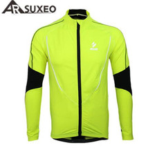ARSUXEO Mens Winter Warm Up Fleece Cycling Jacket Bike Bicycle MTB Jersey Sports Running