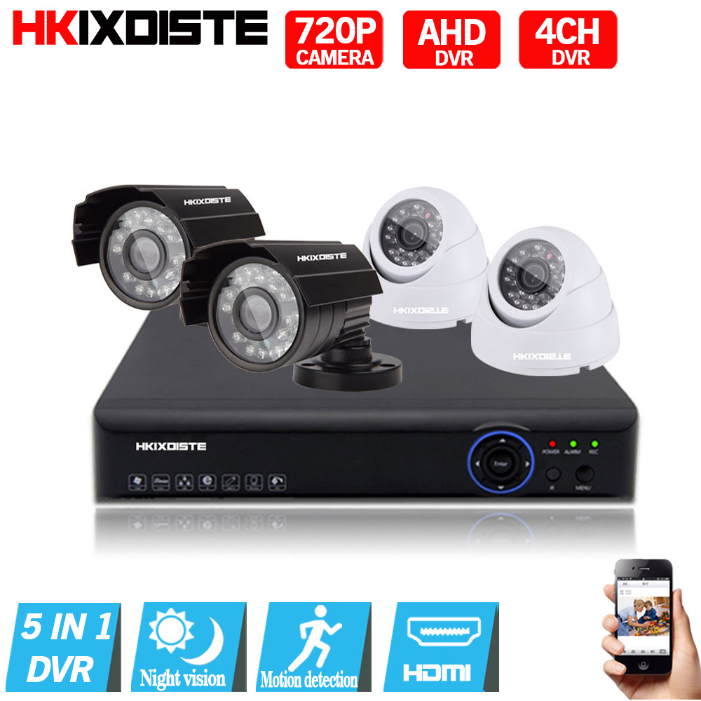 Security Camera System 4ch CCTV System 4 720P CCTV Camera 1.0MP Camera Surveillance Kit 4ch DVR 1080P HDMI Video Output USB 3G 2013 hot sale 4ch 2 0 usb cctv security camera real time video dvr card