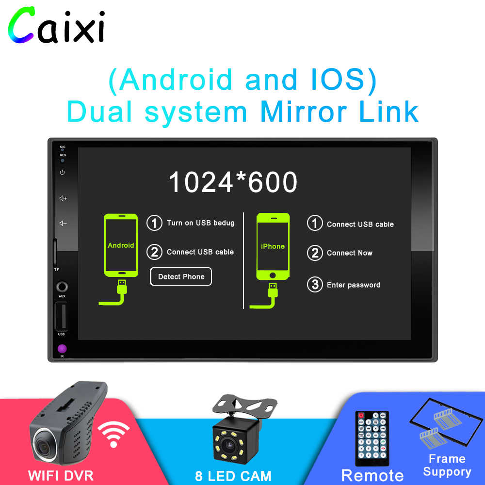 "Caixi 2 din coche reproductor Multimedia estéreo 7 ""Pantalla táctil reproductor MP5 Auto Radio espejo enlace para Android y Iphone WIFI DVR"