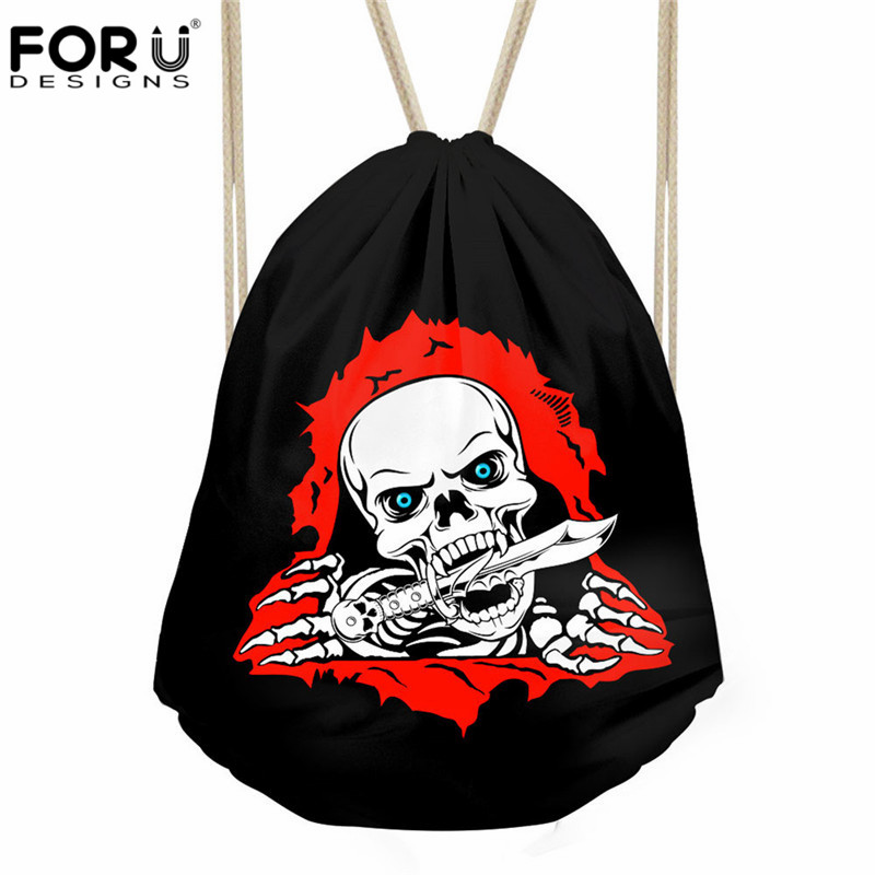 FORUDESIGNS Cool Skull Printed Female Male Drawstring Bags Casual Travel String Backpack Girl Boys Fashion Design School Bags