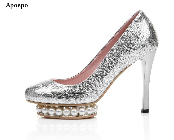 Apoepo Spring Newest Thin Heels Shoes High Quality Leather platform Pumps for woman pointed toe pearls beaded wedding heels baoyafang white red tassels women wedding shoes bride 12cm 14cm high heels platform shoes woman high pumps female shoes