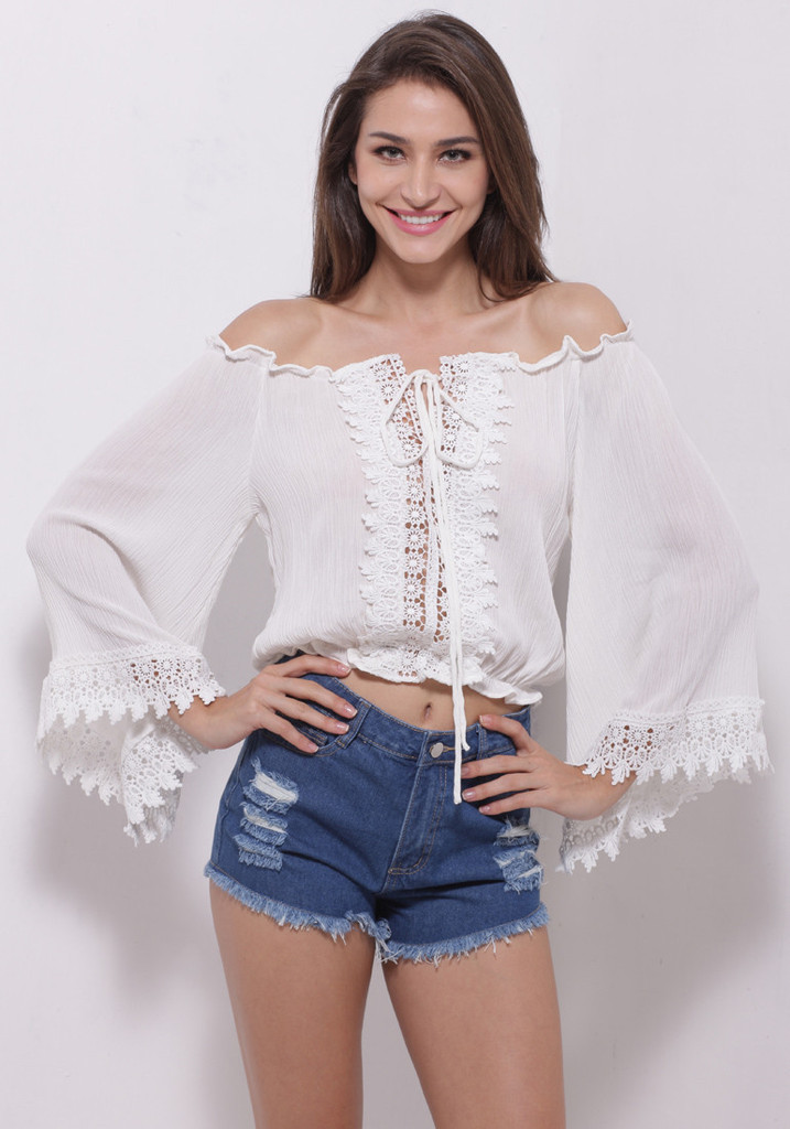 dccc3bf68df 2015 Bohemian Sexy Crop Top Short White Women Tops Beach Chiffon Shirt Lace  Splice Blouse Strappy Hollow Out Plus Size Hot Sale-in Blouses & Shirts  from ...