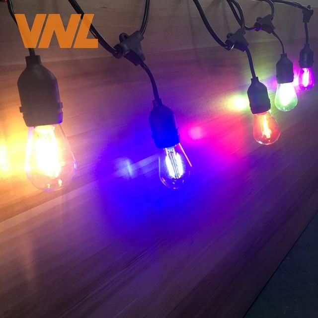 VNL IP65 15M Commercial LED String Lights S14 LED Multicolor Light String Waterproof For Holiday Garland Wedding Lighting