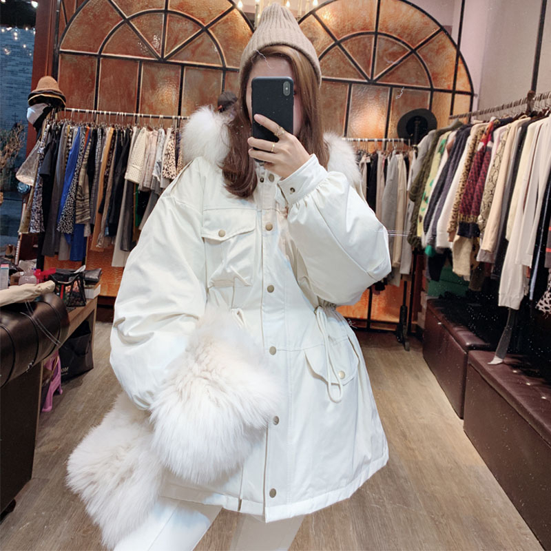 Real Fur Collar 2019 Winter Jacket Women 90% White Duck   Down     Coats   belt hooded Parkas Outerwear Female mujer invierno YRF16
