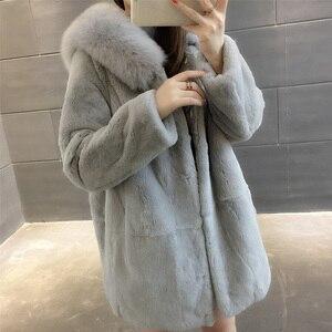 Image 3 - 2019 Yeni Doğal Rex Tavşan Kürk Palto Kadınlar Boy Kapşonlu Kış Gerçek Kürk Ceketler Artı Boyutu