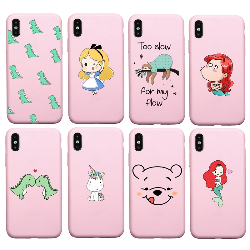 Cute Cartoon Dinosaur Princess soft Case For iphone 7 8