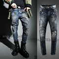 Tide men's brand fashion stage singer jeans offbeat personality do the old ink decorative metal zipper punk pants feet trousers