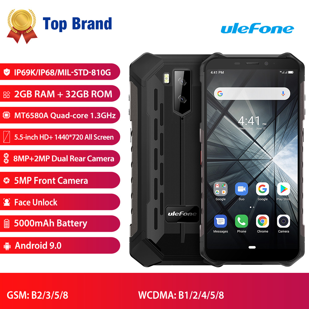 Ulefone Armor X3 IP68 Rugged Waterproof Mobile Phone Android 9.0 Cellphone 5.5 Quad Core 2GB+32GB Face ID 5000mAh Smartphone