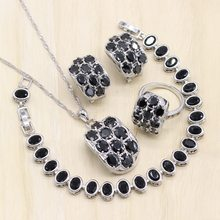 Silver 925 Women Bridal Jewelry Sets Black Zircon Wedding Bracelets Earrings Rings Pendant Necklace Gift Box(China)