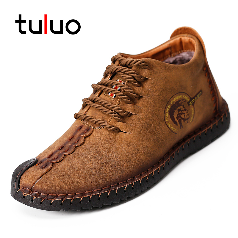 TULUO Genuine Leather Casual Shoes Men Lace Up Men Boots Keep Warm Winter High Quality Ankle Boots Men Flat Shoes Big Size38-47 genuine leather men casual shoes wool fur warm winter shoes for men flat lace up casual shoes men s flat with shoes fashion