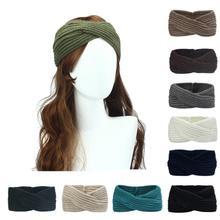 цена на Winter headband Women Lady Crochet Bow Knot Turban Knitted Head Wrap Hairband Winter Ear Warmer Headband Accessories NEW
