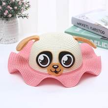 Kids Hat Panama Children Anti-UV Sun Protection Summer Cap Puppy Ears Straw Baby Hat Casquette Enfant Garcon Drop Shipping c(China)