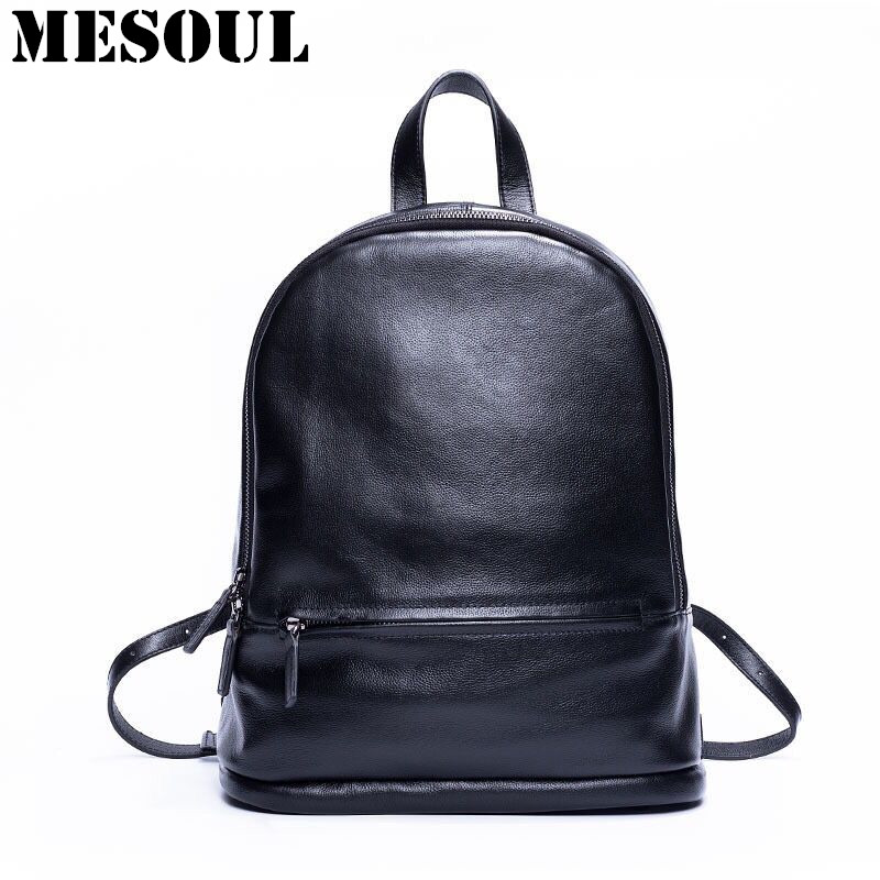 ФОТО 100% Real Soft Genuine Leather Women Backpack Shoulder Bags Ladies High Quality Fashion Black Daily Backpack Girl School Bag