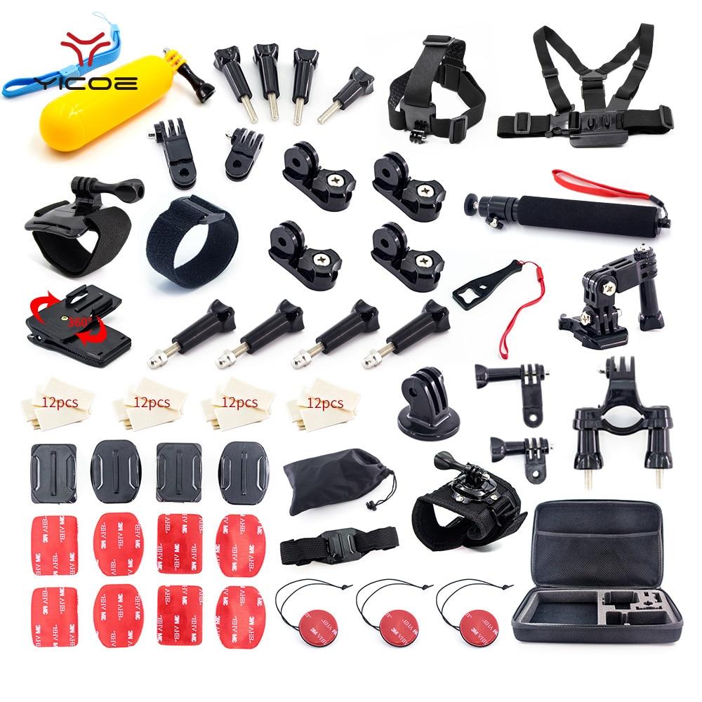 Pour Xiaomi Yi Go pro hero 6 5 4 3 Kit d'accessoires adaptateur de montage sur trépied SJCAM SJ4 GoPro EKEN 4 k ensemble de caméra de Sport d'action