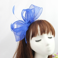 Natural Philippines Sinamay Hair Band Girls Feather Fascinator Hat Headband Hair Accessories Royal Blue Women Party Headdress