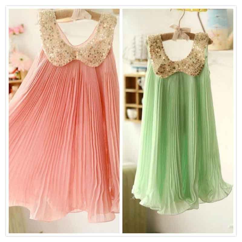 New 2016 children summer dress girl's dress kids princess dress Rainbow Pleated chiffon tutu dress 2-7Y toddler girls clothes