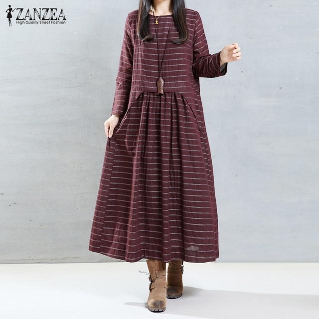 Casual Loose Long Maxi Dress 2017 Autumn ZANZEA Women Vintage Striped  Dresses O Neck Long Sleeve High Waist Vestidos Oversized
