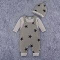 Macacão de bebê Menino Listrado T-shirt de Manga Comprida Romper Do Bebê 3 pcs Romper + Chapéu Padrão de Estrela Traje Roupa Do Bebê Recém-nascido para Autmn