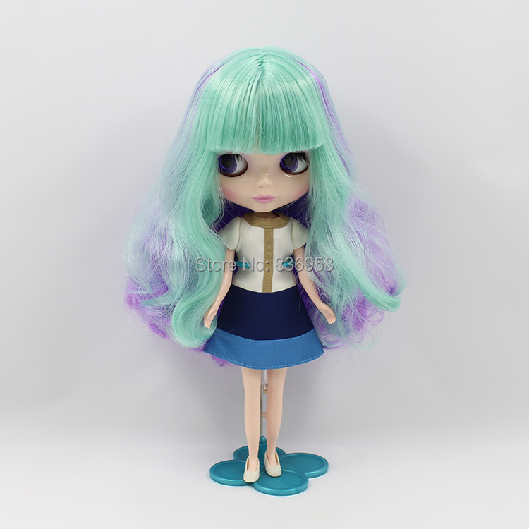 Purple And Mint Mixed Long Hair Nude Blyth Doll Suitable For DIY Change BJD Toy For Girls все цены