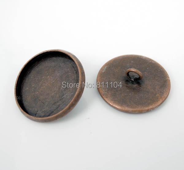 18 мм Античная Медь Покрытая Пустые Основы Круглый Круг Рамка Кабошон Настройки Шапки Кнопки Назад Loop Выводы