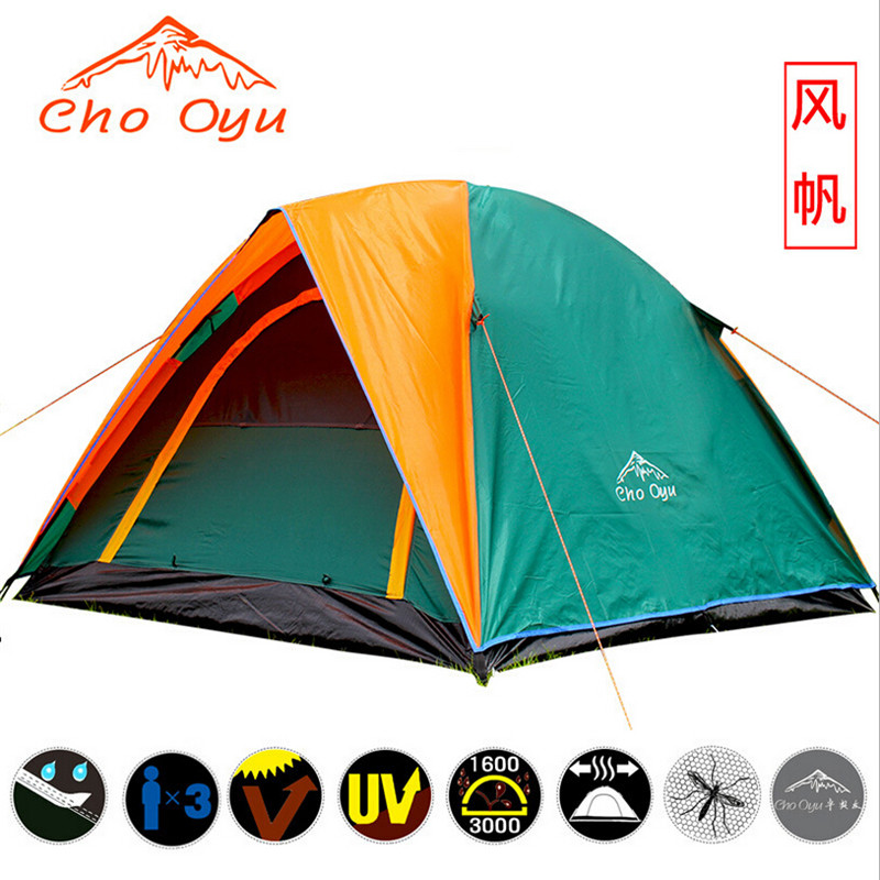 double layer 3 4 person rainproof ourdoor camping tent for bivouac hiking fishing hunting adventure picnic carpas camping tents 3 4 person tents rainproof waterproof outdoor camping tent tourist tent for hunting picnic party camping