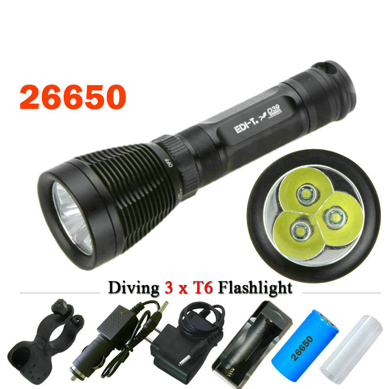 3T6 CREE XML T6 Underwater Diving flashlight  torch scuba flashlights dive waterproof light 8 mode 18650 OR 26650 8000 lumens powerful underwater flashlight led scuba diving lanterna xml l2 waterproof led torch dive light 18650 26650 rechargeable battery