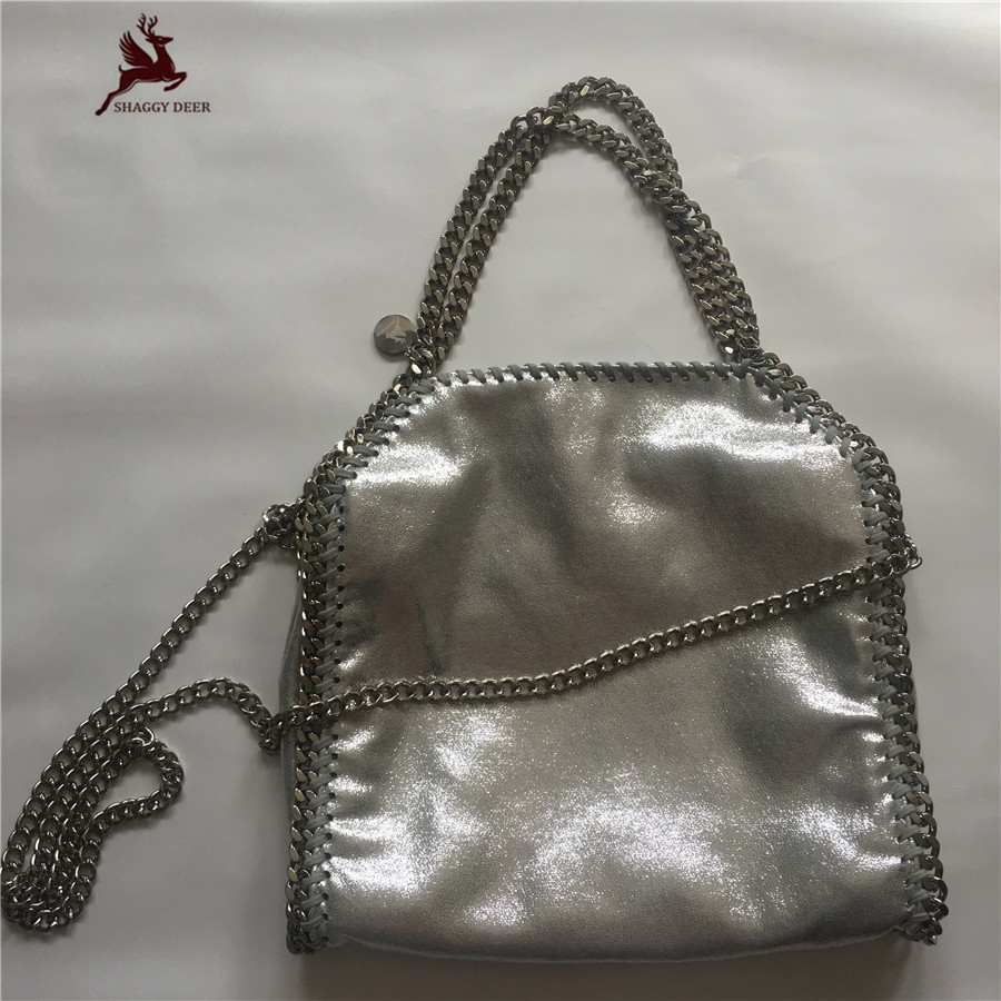 2017 SHAGGY DEER Sliver PVC Shinny Faux Leather 25cm Small Chian Bag High Quality 3 Chain fold-over Real Picture Handbag mini gray shaggy deer pvc quilted chain bag with cover real picture