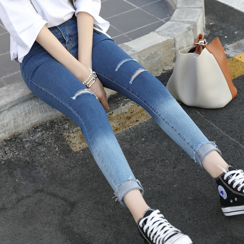 Casual Women Vintage Skinny Denim Jeans Gradient Color Slim Ripped Pencil Jeans Hole Pants High Waist Trousers stylish gradient color broken hole skinny jeans for women