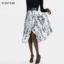 купить 2019 New vintage Pleated Skirt Women Single Breasted Sashes snake print Midi Skirt Spring autumn High Waist Women Skirts дешево