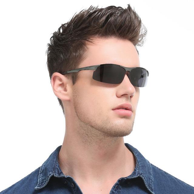 Semi-Sem Aro Óculos Polarizados Homens Óculos De Sol De Alumínio E Magnésio Pesca UV400 Esporte Masculino Óculos De Sol Óculos Acessórios Para A Condução