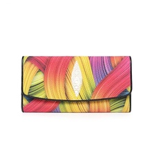 Fancy Colorful Designer Thailand Genuine Skate Skin Women Large Phone Purse Exotic Leather Lady Long Wallet Female Day Clutches