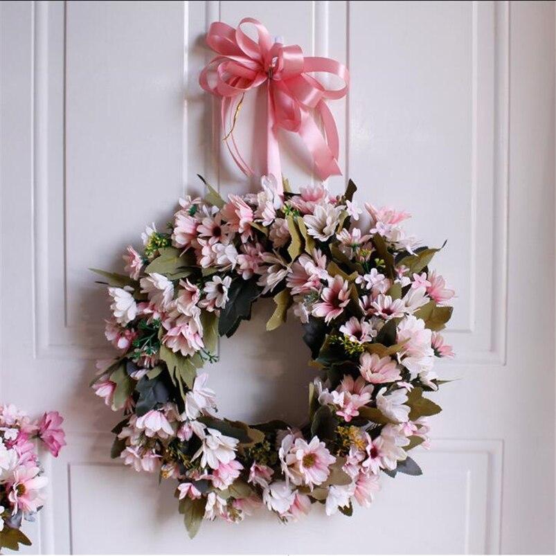 Flower Wreaths For Weddings: Artificial Rose Peony Flower Garland 35cm Christmas Wreath