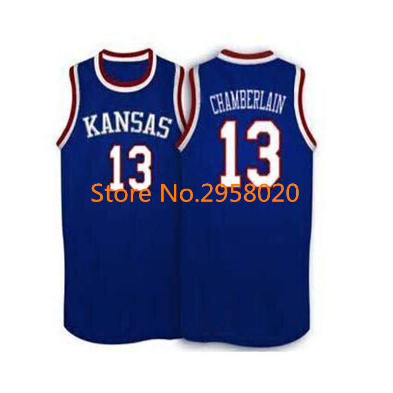 ... Kansas Jayhawks KU College Basketball Jersey White Blue Embroidery  Stitched Custom any Low Price Everyday 13 Adidas Authentic Wilt Chamberlain  Mens ... 24ce12055