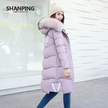 SHANPING2017 Autumn Parkas Winter Jacket Women Coats Female Outerwear Plus Size Casual Long Down Cotton Wadded Lady Fashion Warm