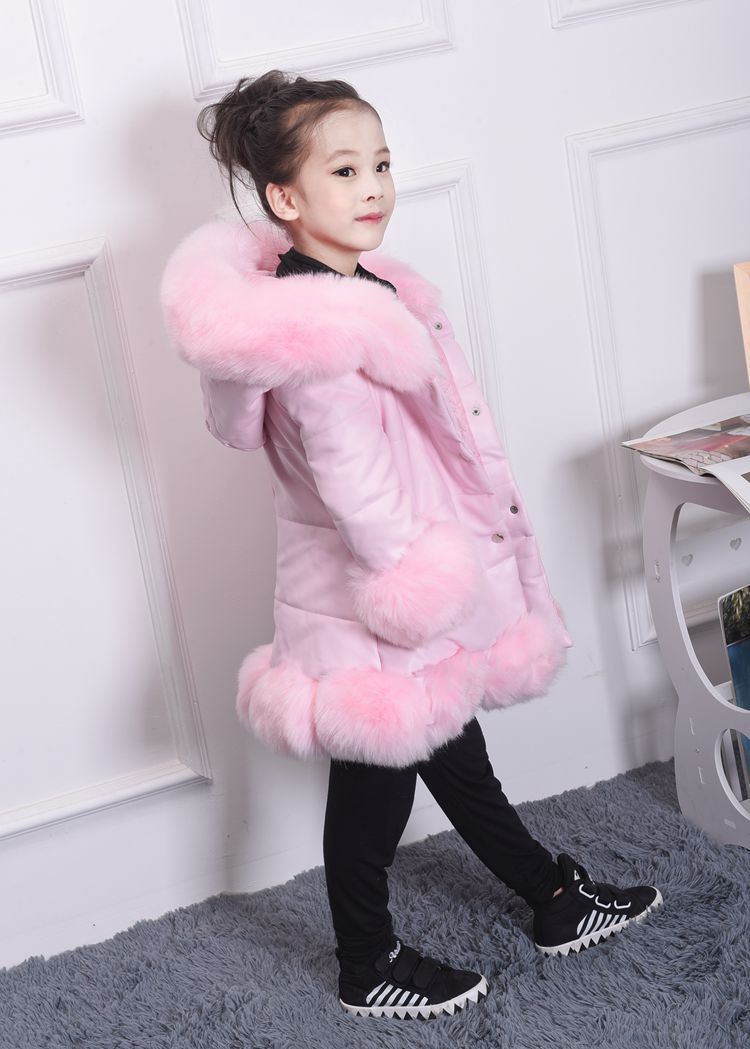 jacket for girl PU Leather Patchwork Fox Faux Fur Collar Jacket Coat Princess Winter Thicken Outerwear children For 3-12 Years