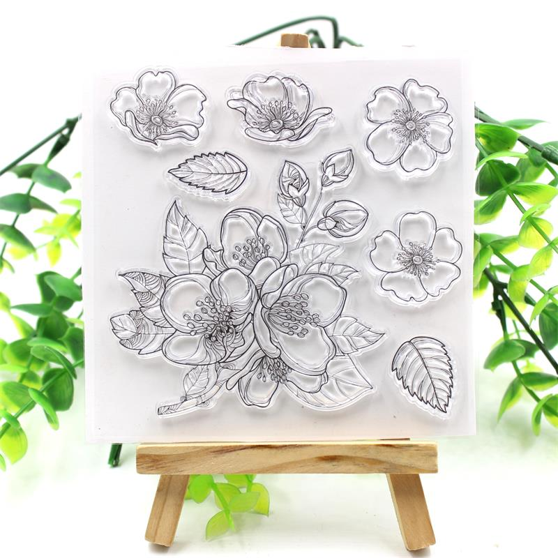 KSCRAFT Flowers Transparent Clear Silicone Stamps for DIY Scrapbooking/Card Making/Kids Fun Decoration Supplies kscraft butterfly and insects transparent clear silicone stamps for diy scrapbooking card making kids fun decoration supplies
