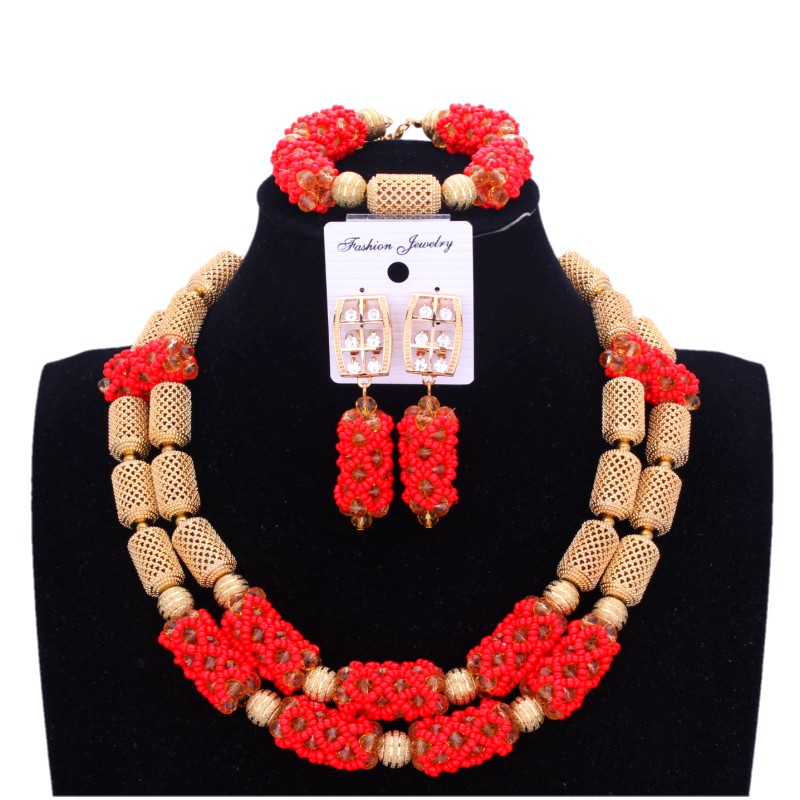 Étincelant or ensemble de mariée africaine rouge Dubai bijoux ensembles couleur or 2018 nigérian perles ensemble bijoux Rose collier de mariage ensemble